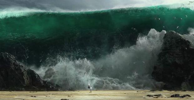Ein Pferd teilt das Meer im Jahr 2014.